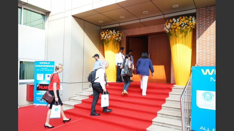 Delegates arriving at main hall